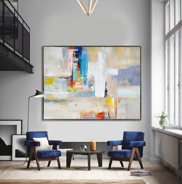 Handmade Extra Large Contemporary Painting, Huge Abstract Canvas Throughout Big Abstract Wall Art (Image 5 of 20)