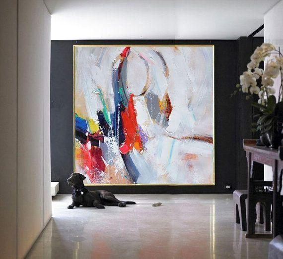 Handmade Large Contemporary Art Canvas Paintingcelineziangart With Regard To Big Abstract Wall Art (Image 6 of 20)