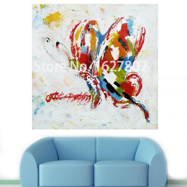 Handmade Modern Abstract Decorative Animal Picture Abstract With Abstract Butterfly Wall Art (View 2 of 20)