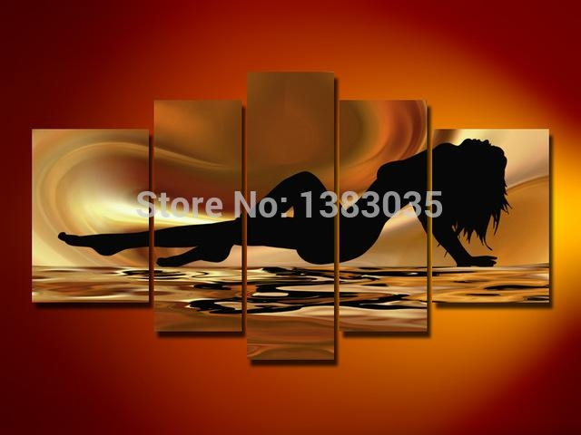 Handmade Nude Femal Body Paintings Modern Abstract Naked Girl 5 Inside Abstract Body Wall Art (Image 13 of 20)