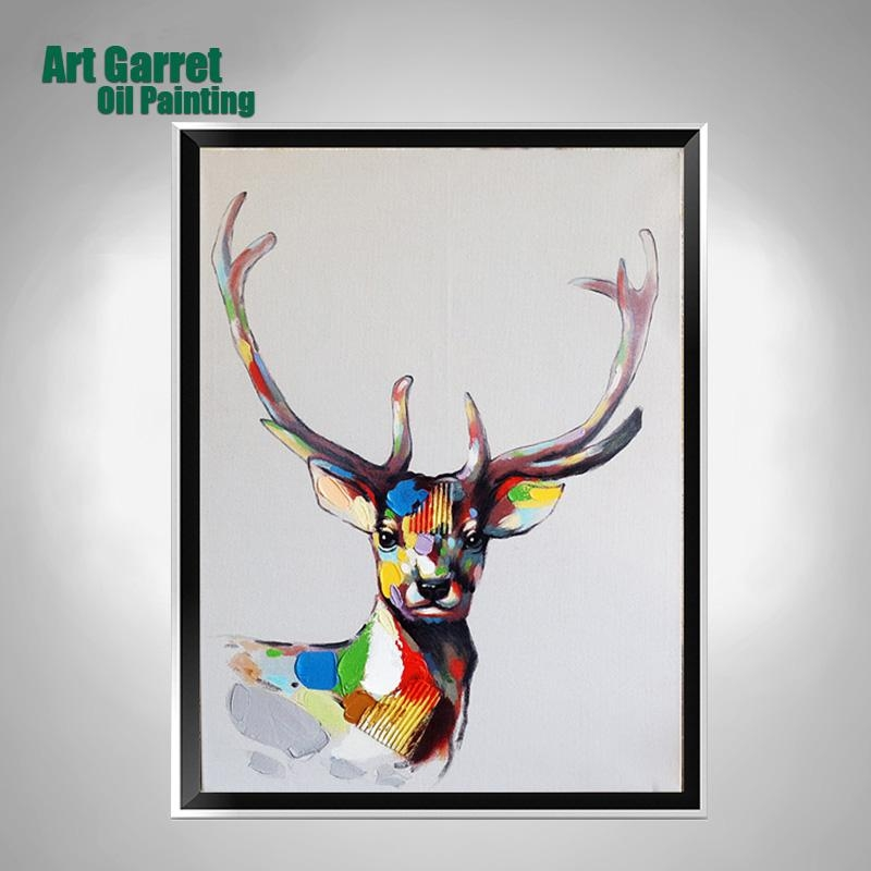 Handmade Oil Paintings On Canvas Animals Abstract Texture Deer With Regard To Abstract Deer Wall Art (View 12 of 20)