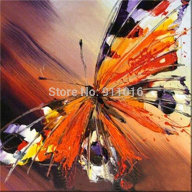 Handmade Palette Knife Oil Painting Abstract Painting Home Inside Abstract Butterfly Wall Art (View 15 of 20)