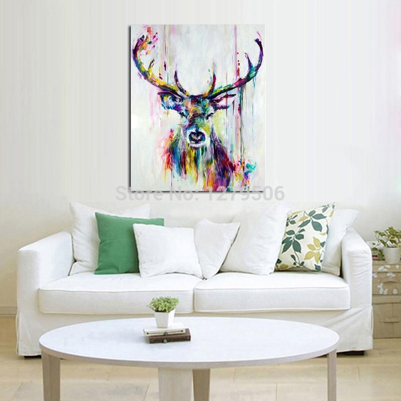 Handpainted Oil Painting On Canvas Wall Pictures Deer Wall Art For For Abstract Deer Wall Art (Image 16 of 20)