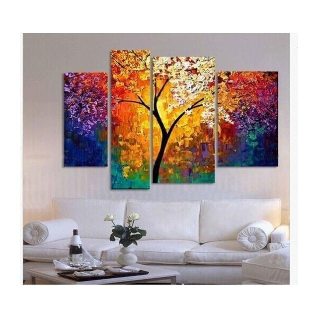 Handpainted Oil Painting Palette Knife Paintings For Living Room Inside Affordable Abstract Wall Art (Image 9 of 20)