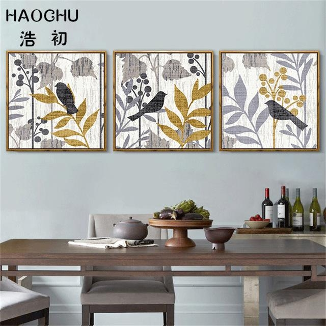 Haochu Modern Abstract Bird On The Tree Wall Art Canvas Painting In Abstract Bird Wall Art (Image 12 of 20)