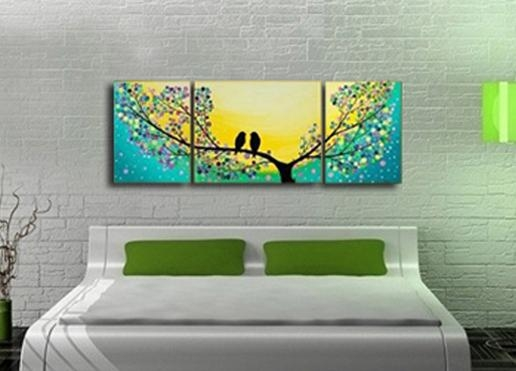 High Quality 100%handmade Bird Tree Yellow Green Modern Abstract Pertaining To Abstract Bird Wall Art (Image 13 of 20)