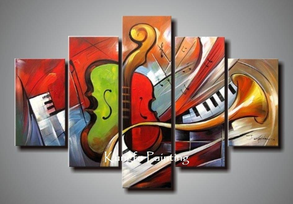 Holiday Sale 100% Hand Painted Discount Abstract Music Paintings For Abstract Musical Notes Piano Jazz Wall Artwork (Image 9 of 20)