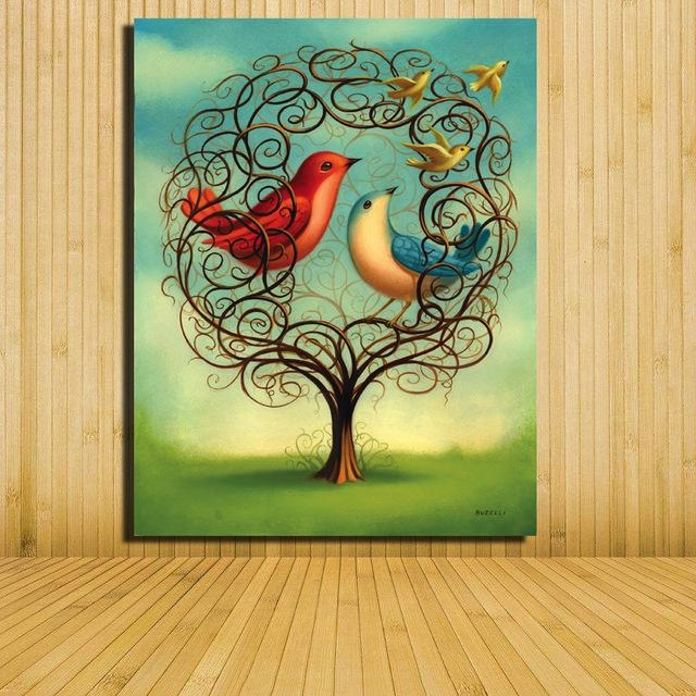 Home Decor Canvas Painting Abstract Bird On Tree Landscape Inside Abstract Bird Wall Art (Image 14 of 20)