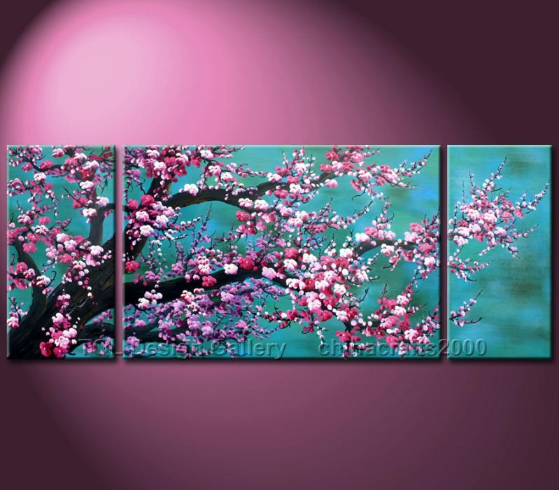 Huge Feng Shui Cherry Blossom Original Modern Abstract Art Canvas Inside Cherry Blossom Oil Painting Modern Abstract Wall Art (View 19 of 20)