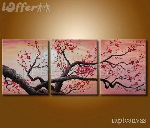 Huge Wall Art Cherry Blossom Flower Oil Painting Deco 3 For Sale Within Cherry Blossom Oil Painting Modern Abstract Wall Art (Image 15 of 20)