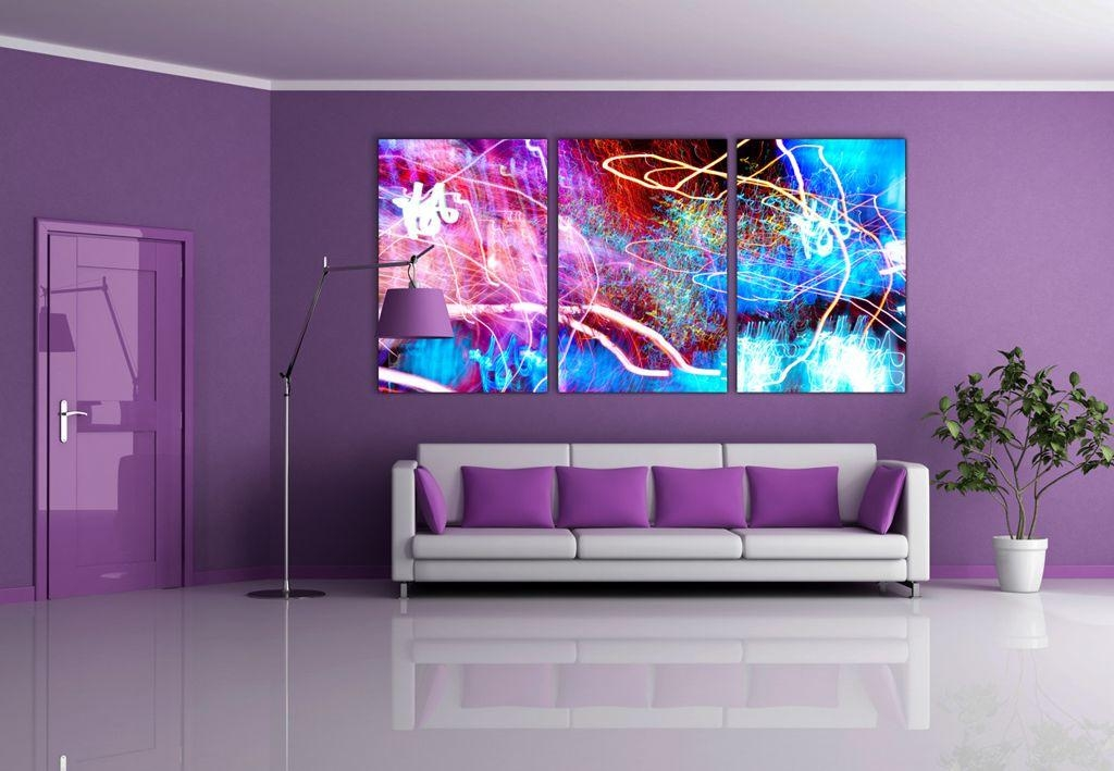Interior : Dark Purple L Shaped Sofa For Open Plan Living Room Inside Dark Purple Abstract Wall Art (View 14 of 20)