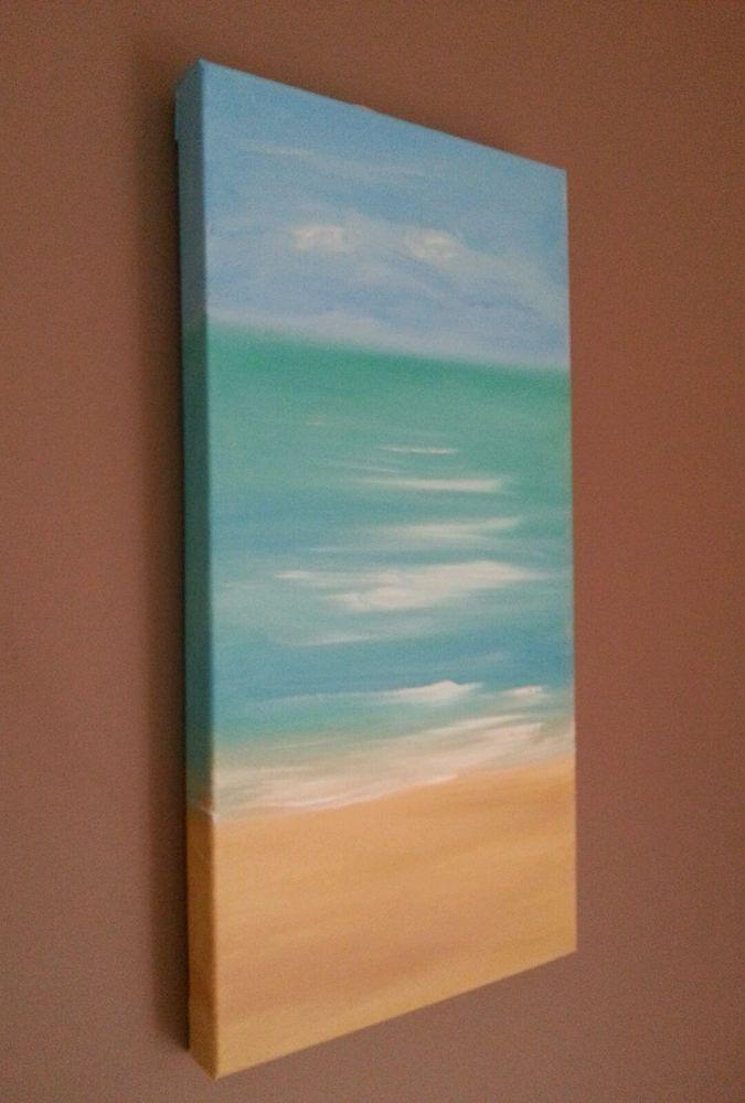 Jayne Wharton Original Painting Abstract Beach Canvas Art Sea Intended For Abstract Beach Wall Art (Image 12 of 20)