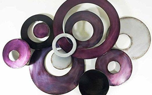 Joyous Purple Metal Wall Art With New Decor Sculpture Linked For Dark Purple Abstract Wall Art (View 13 of 20)