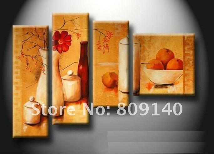 Kitchen Dining Room Oil Painting Canvas Stretched Artwork Modern Intended For Abstract Wall Art For Dining Room (Image 12 of 20)