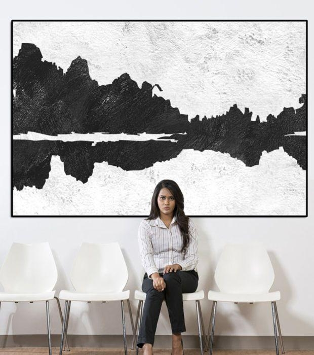 Landscape Abstract Wall Art, Extra Large Wall Art, Large Abstract With Black And White Abstract Wall Art (Image 13 of 20)