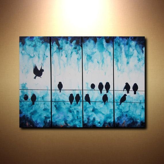 Large Abstract Art Bird On A Wire Painting 24X32 Tetraptych For Abstract Bird Wall Art (Image 15 of 20)