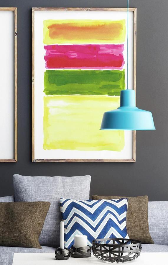 Large Abstract Art Print Yellow Wall Art Bold Color Art In Bold Abstract Wall Art (Image 14 of 20)