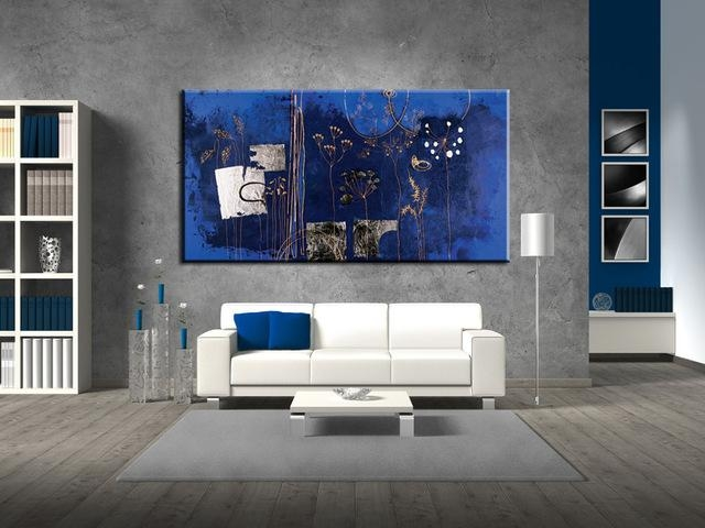 Large Abstract Dark Blue Flower Acrylic Wall Art Canvas Handmade Pertaining To Dark Blue Abstract Wall Art (Image 15 of 20)