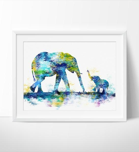 Large Abstract Painting, Elephant Art Print, Elephant Abstract Art In Abstract Elephant Wall Art (Image 13 of 20)