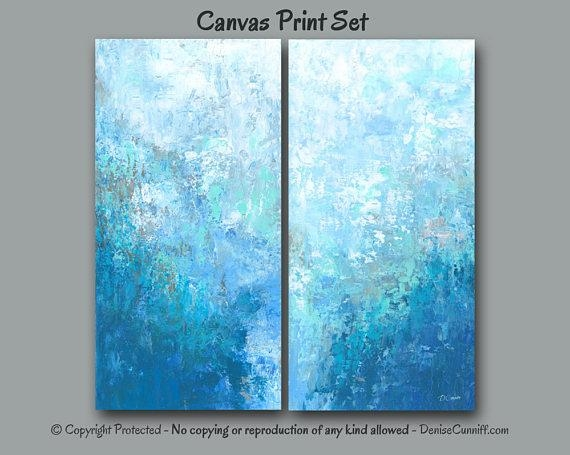 Large Blue Abstract Wall Art 2 Two Piece Canvas Print Set Intended For Aqua Abstract Wall Art (View 12 of 20)