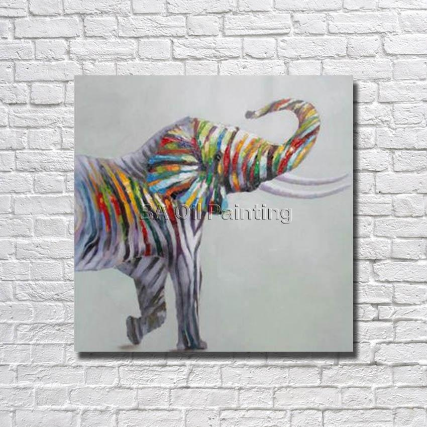 Large Canvas Art Cheap 100% Hand Painted Abstract Colourful Throughout Abstract Elephant Wall Art (Image 14 of 20)
