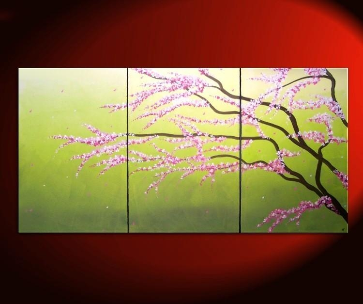 Large Green Abstract Cherry Blossom Painting Spring Greens And Within Abstract Cherry Blossom Wall Art (Photo 4 of 20)