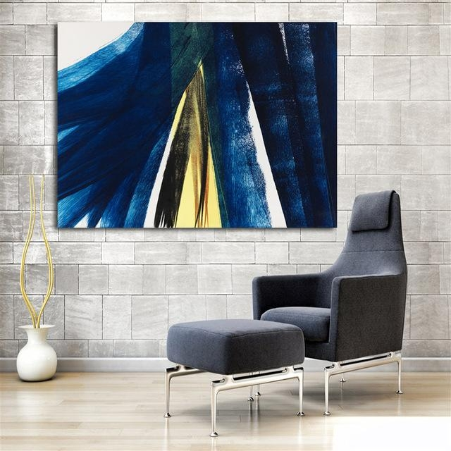 Large Hd Canvas Print Painting Hans Hartung Dark Blue Artwork Wall With Dark Blue Abstract Wall Art (Image 16 of 20)