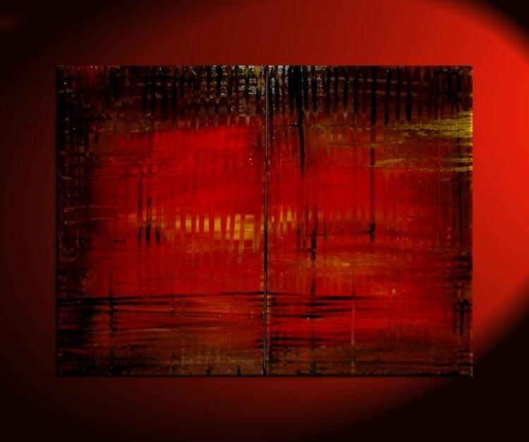 Large Red Abstract Painting Bold Modern Original Textured Huge Within Bold Abstract Wall Art (Image 15 of 20)