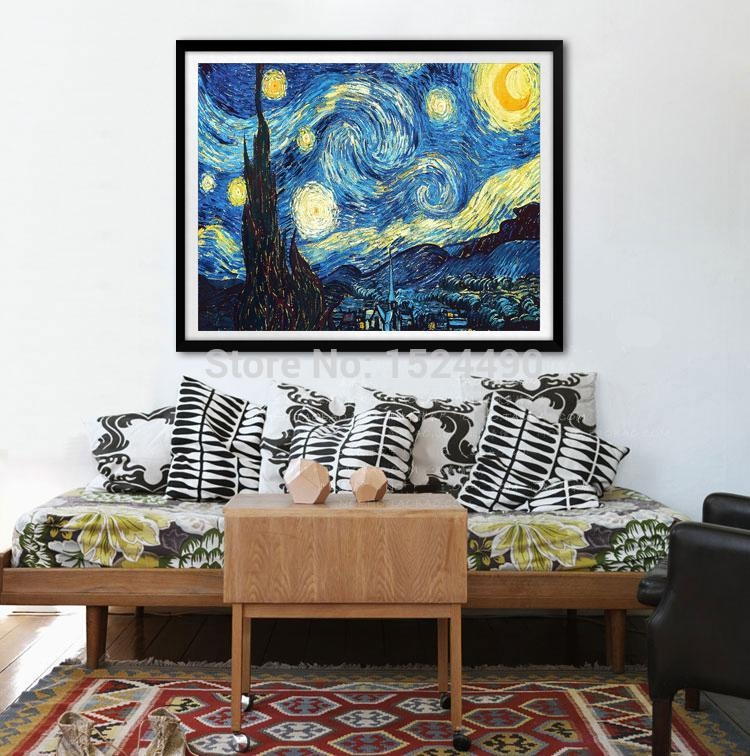 Large Starry Night Of Vincent Van Gogh Handmade Reproduction Oil With Vincent Van Gogh Wall Art (Image 10 of 20)