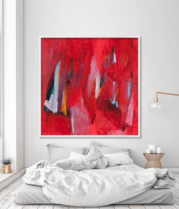 Large Wall Art Bold Red Abstract Print On Canvas Art Abstract In Bold Abstract Wall Art (Image 16 of 20)