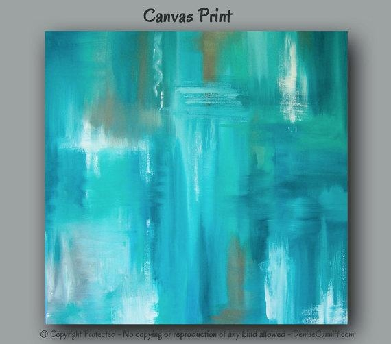 Large Wall Art Teal Abstract Canvas Art Print Teal Home Pertaining To Aqua Abstract Wall Art (View 4 of 20)
