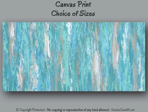 Large Wall Art, Teal Aqua Abstract Painting – Canvas Art Print Regarding Aqua Abstract Wall Art (View 7 of 20)