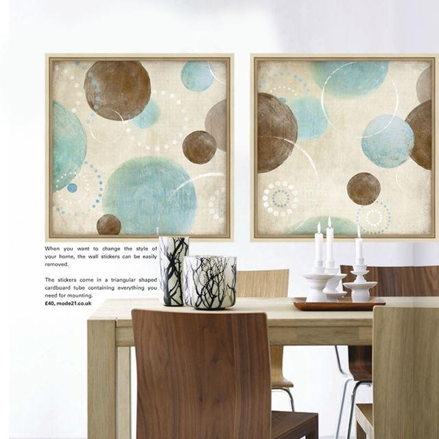 Light Blue, Beige And Brown Circles Modern Abstract Painting Pertaining To Blue And Brown Abstract Wall Art (Image 13 of 20)