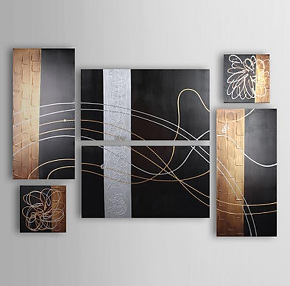 Listed In Stock] 6Pcs/lot Hand Made Silver Line Black & Brown Pertaining To Brown Abstract Wall Art (Image 13 of 20)