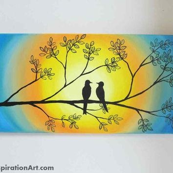 Love Birds In Tree Abstract Acrylic From Paintspiration | Art With Regard To Abstract Bird Wall Art (Image 16 of 20)