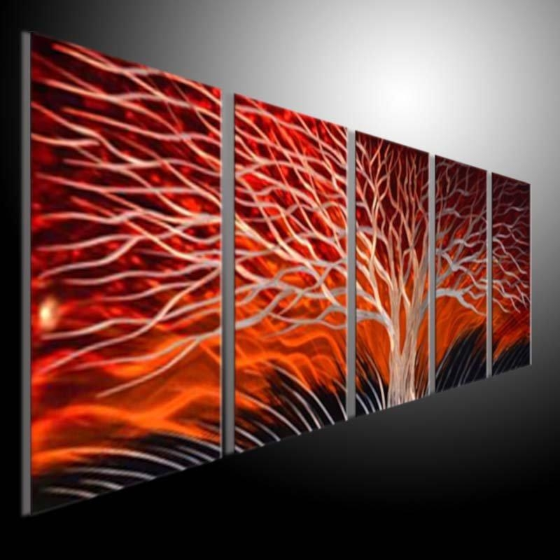 Metal Sculpture Wall Red Tree, Metal Painting Original Abstract In Abstract Aluminium Wall Art (View 11 of 20)