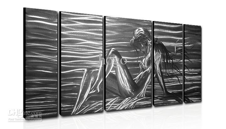 Metal Wall Art Abstract Modern Sculpture Painting Handmade 5 Panle For Abstract Aluminium Wall Art (View 5 of 20)