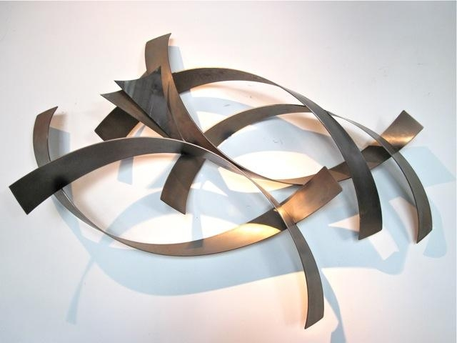 Metro Modern Curtis Jere Abstract Metal Wall Sculpture – Abstract Intended For Sculpture Abstract Wall Art (Image 11 of 20)