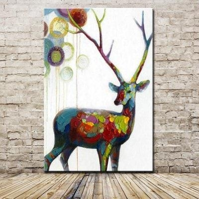 Mintura Hand Painted Modern Abstract Deer Animal Oil Painting Intended For Abstract Deer Wall Art (Image 17 of 20)