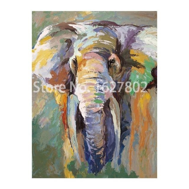 Modern Abstract Elephant Wall Painting Hand Painted Animals Art Regarding Abstract Elephant Wall Art (Image 15 of 20)