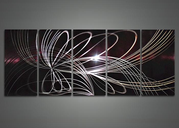 Modern Abstract Metal Wall Art Painting 60 X 24In | Fabu Art With Regard To Abstract Metal Wall Art (Image 12 of 20)