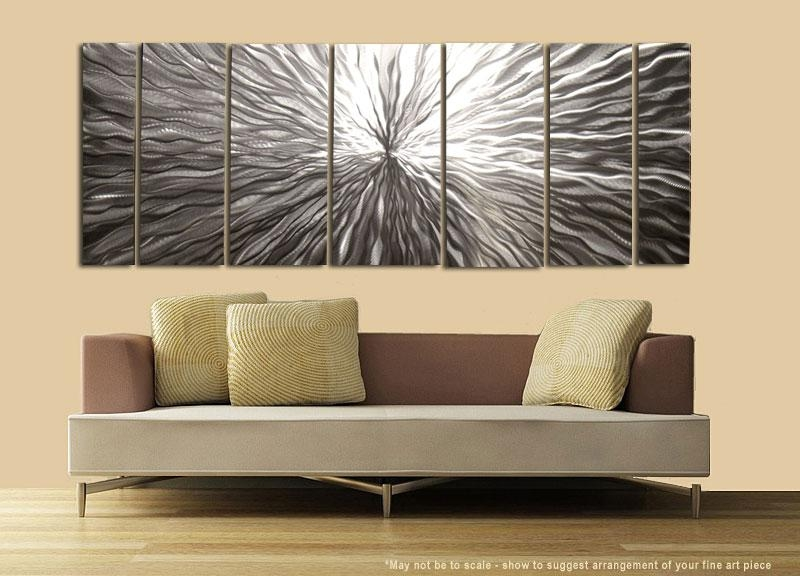 "Modern Abstract Silver Metal Wall Art Sculpture Decor ""vortex"" With Sculpture Abstract Wall Art (Image 12 of 20)"