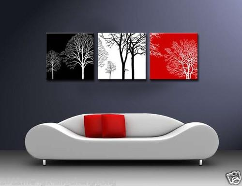 Modern Abstract Wall Canvas Art Oil Painting Black White Red Tree For Diy Modern Abstract Wall Art (Image 16 of 20)