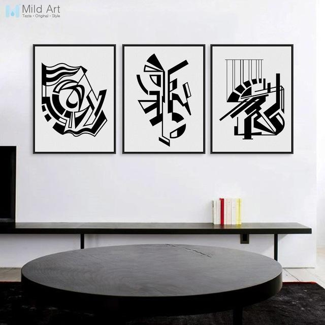 Modern Minimalist Nordic Black White Symbol A4 Large Art Prints Pertaining To Black And White Abstract Wall Art (View 14 of 20)