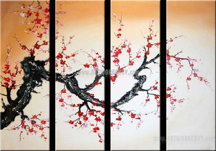 Modern Oil Painting Cherry Blossom Abstract Art Canvas Framed Throughout Cherry Blossom Oil Painting Modern Abstract Wall Art (Image 18 of 20)