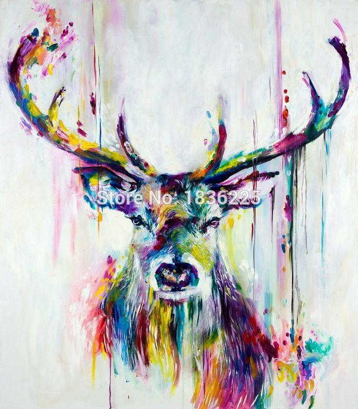 Modern Style Abstract Oil Painting Canvas Animals Painted Deer Oil Inside Abstract Animal Wall Art (Image 17 of 20)