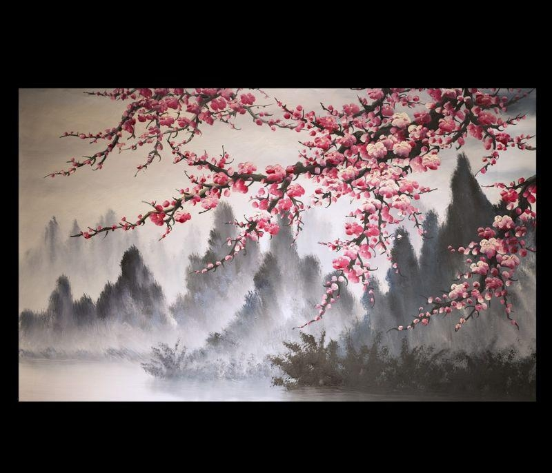 Modern Wall Art Paintings Art Prints On Canvas Japanese Cherry For Abstract Cherry Blossom Wall Art (Image 17 of 20)