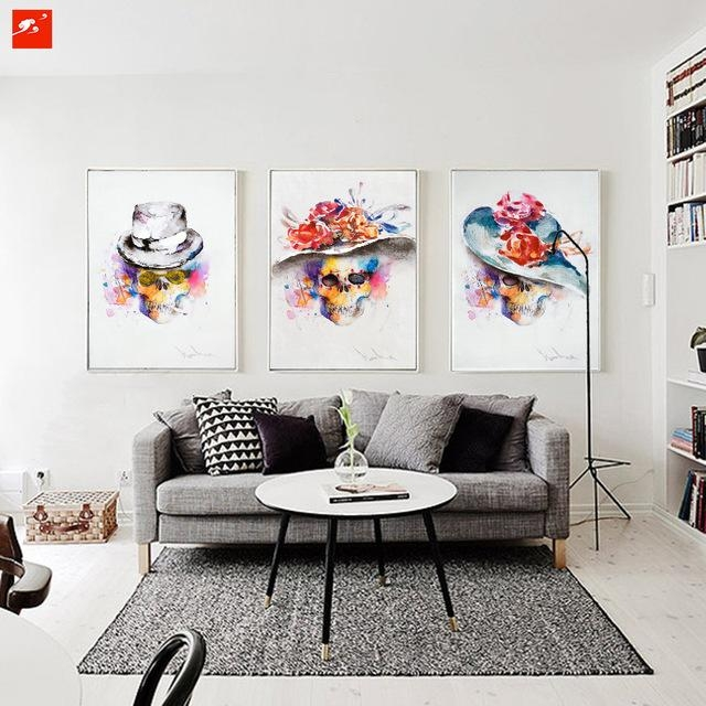 Modern Watercolour Fashion Skull Painting Set Abstract Wall Art Intended For Abstract Wall Art For Bedroom (Image 15 of 20)