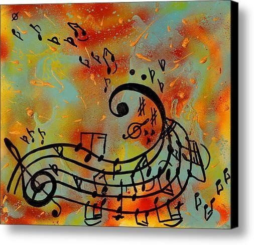 Music Notes Painting, Abstract Music Art Print, Musical Notes Wall For Abstract Musical Notes Piano Jazz Wall Artwork (Image 11 of 20)