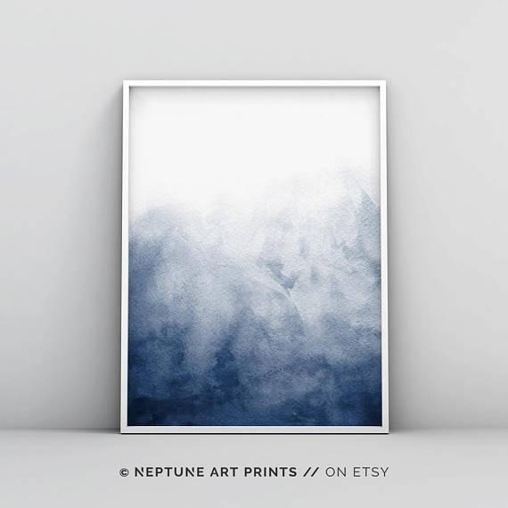Navy Blue Watercolour Printable Indigo Artwork Minimalist For Dark Blue Abstract Wall Art (Photo 13 of 20)
